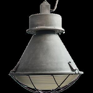 Fabriekslamp met motorglas en metalen rooster
